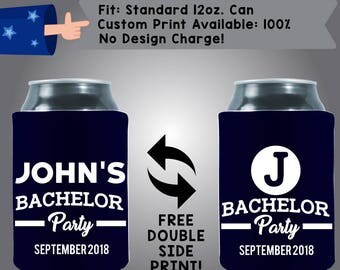Johns Bachelor Party Date Collapsible Fabric Bachelor Party Can Cooler Double Side Print (Bach93)