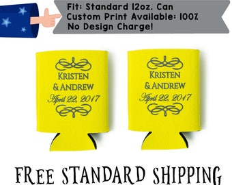 Names Date Fancy Collapsible Neoprene Wedding Can Cooler Double Side Print (realphoto21)