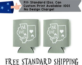 State Heart Let Love Brew Collapsible Fabric Wedding Can Coolers, Cheap Can Coolers,  Wedding Favors (realphoto12)