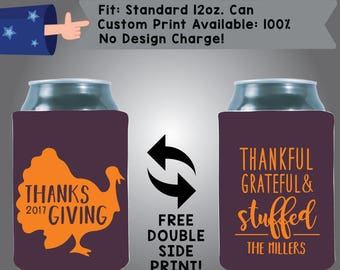 Thanksgiving Thankful And Grateful Stuffed Collapsible Fabric Thanksgiving Custom Can Cooler Double Side Print (Etsy-Thanksgiving01)