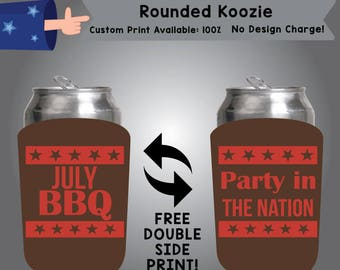 July BBQ Party in the Nation Rounded Koozie Fourth of July Double Side Print (RK-FourthofJuly01)