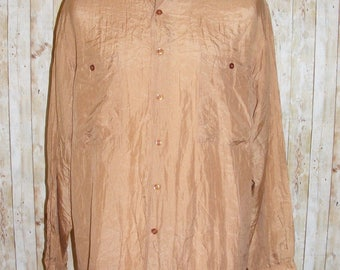 Size M vintage 80s oversize long sleeve collared shirt brown pure silk (HQ31)
