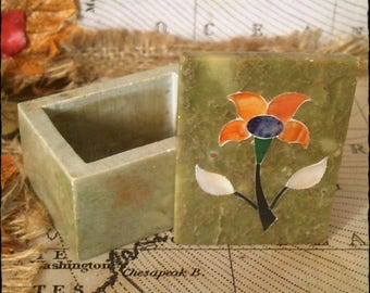 Vintage Green Marble Tinket Box/Dish with Lid - Mid Century 1970's with Mother of Pearl Inlay, Art Deco Flower Design
