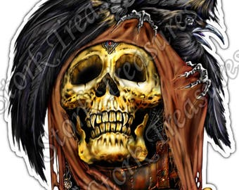 Skull Raven Bird Gothic Death Bones Scary Car Bumper Vinyl Sticker Decal