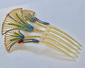 Egyptian Revival Art Deco Hair Comb 3 Lotus' Multi-Color Rhinestones & Enamels Hair Ornament Hair Jewelry, Hair Accessory Hair Decoration