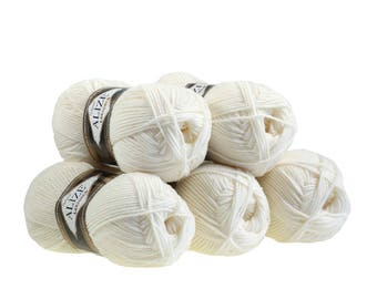 5 x 100 g yarn ALIZE Lanagold 49% wool, free choice of color (color: pearl)