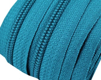 6m of endless zipper 5mm with 15 zippers and tails 207 aquamarine