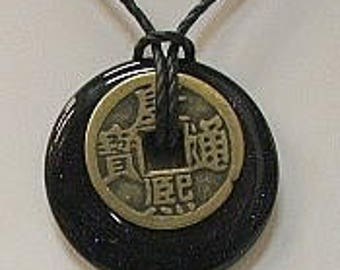 Blue Goldstone Donut with I-Ching Coin