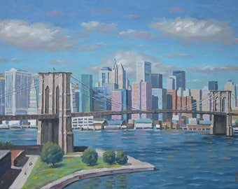 New York, New York Print, New York Instant Download, Oil painting Print