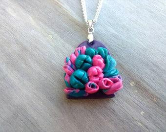 Floral necklace, floral pendant, pink, Turquoise, blue, purple, bouquet, petals, flowers, floral design, pendant, floral gift, gift for her