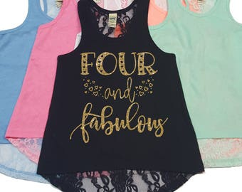Four and Fabulous Lace Back Tank - Birthday Tank - Girls Birthday - 4th Birthday - Lace Tank Top - Custom Girl - Girls Tank Tops