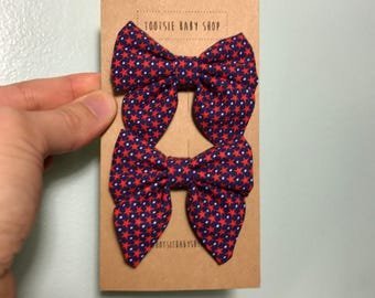 Red, White, and Blue Star Sailor Bow