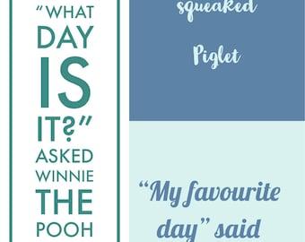 A. A. Milne - Winnie The Pooh Quote Print. Children's Room/ Nursery Decor