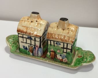 Vintage Country Cottage Salt and Pepper Shakers with Tray
