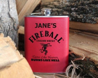 Personalized gift fireball flask photography whiskey print boyfriend gift personalized wall art -not an actual flask