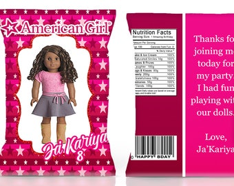 American Girl chip bag American Girl party American Girl invitation American Girl favor American Girl birthday party--DIGITAL FILE ONLY