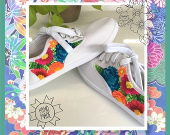 Embroidered sneakers, made to order, hand made embroidery