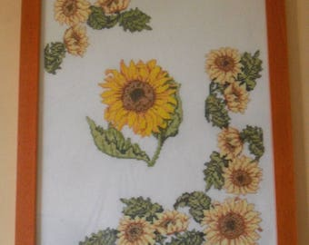 framed counted stitch sunflower embroidery