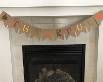 Thankful Banner, Thanksgiving Banner, Fall Decor, Leaves, Fall Colors,Fall Burlap Banner, Photo Prop