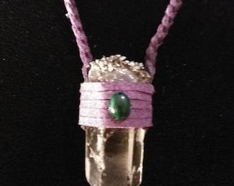 Protection necklace (clear quartz, malachite, Pyrite)