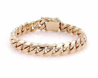 14k gold cuban link men bracelet #10135