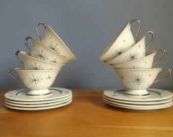 Fine Arts China Romance of the Stars Atomic 8 Cups and Saucers