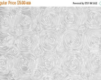 ON SALE WHITE Satin Rosette Fabric by the Yard