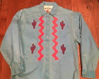 Wrangler Painted Desert Cactus Shirt Women's western button up shirt circus shirt women's large