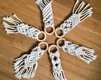 Macrame Ornaments/ Key Chain/ Zipper Pull/ Accessory/ Bag Charm/ Rearview mirror decor