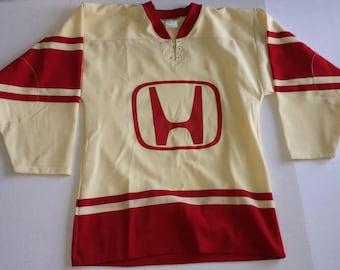 Vintage Honda Knit Shirt Mens Long Sleeve Size Small Yellow Red Hockey Jersey 1980s 1990s