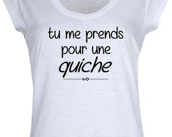 "Women's White T-shirt ""me a quiche""."
