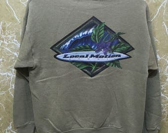 Rare Vintage Local Motion Hawaii crewneck jumper small logo sweatshirt M size