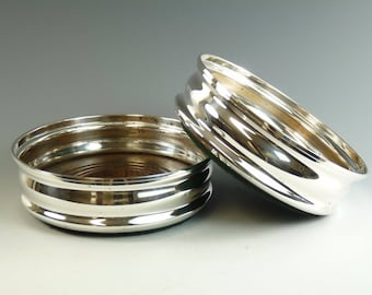 """Vintage - Sterling Silver - Pair Decanter COASTERS - 5 1/4"""" - 1964"""