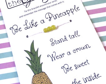 PINEAPPLE Inspirational Bracelet ~ Be Like a Pineapple / Party Like a Pineapple / Pineapple Party Favors / Luau Hawaiian Party Favors