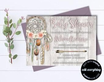 Dream Catcher Baby Shower Invitation - Dreamcatcher Boho Baby Shower Invite - Dream Catcher Invite - Tribal Baby Shower Invitation