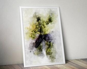 The Incredible Hulk,Poster, Print, Art, Avenger, Watercolour,Iron Man,Marvel,Gift, Gift For Him, Gift For her, Black Widow, Thor, Superhero