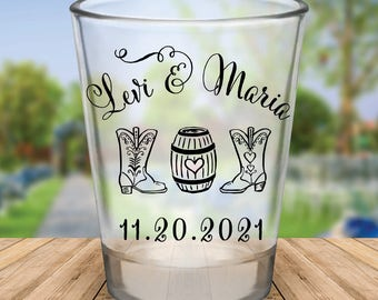 Custom Cowboy Boot Wedding Favor Shot Glasses