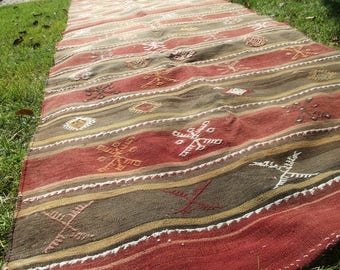 "Runner Rug 6x10 ft / 70x125"", Turkish Kilim Rug, Vintage Cicim Rug, Ethnic Rug, Flat Weave Rug, Hand Woven Kilim, Striped Rug"