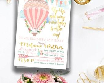 DigitalFloral Hot Air Balloon Printable Shower Invitation File