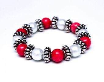 Pink Bracelet, White Pearl Beaded Bracelet, Matching Pink, White Pearl Beaded Earrings