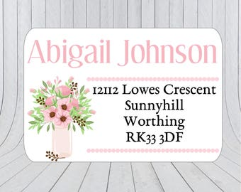 36 x Return address stickers, Address labels, Return Address, Floral labels, Address Stickers, Custom address stickers 190