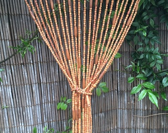 Beaded Kitchen Curtain Wooden hippy beads Door Window screen boho gypsy Indian caramel brown decor Bazaar bunting Kitchen bed Country Indian