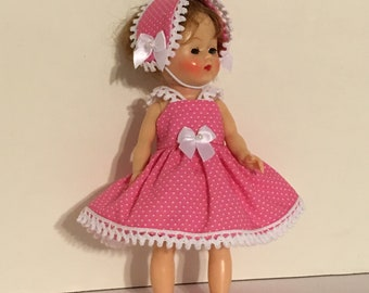 """Pink dress with tiny white dots 3 piece outfit for the Ginny or Muffy 8"""" dolls."""