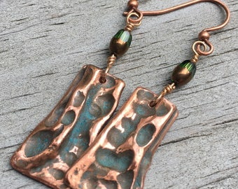 Organic Air Chased Copper Earrings