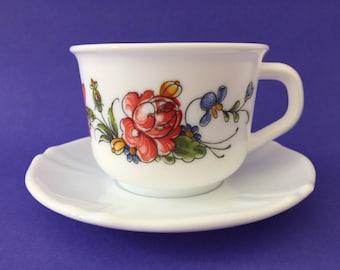 Vintage Arcopal France 'Provincial' Tea Cup & Saucer