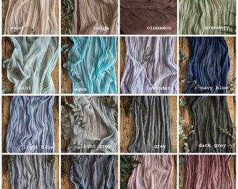 Rustic wedding Gauze runner COLOR SWATCHES Cheesecloth table runners Boho wedding centerpiece Rustic table decor Aisle flowy vow book runner