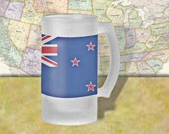 New Zealand Flag Beer Mug, Beer Stein, Country Flag, Country Pride, Beer Glass, 16 oz., Frosted Mug, Beer Thinkers, Beer Lovers, Cold Beer