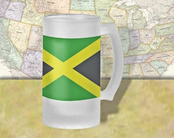Jamaica Flag Beer Mug, Beer Stein, Country Flag, Country Pride, Beer Glass, 16 oz., Frosted Mug, Beer Thinkers, Beer Lovers, Cold Beer