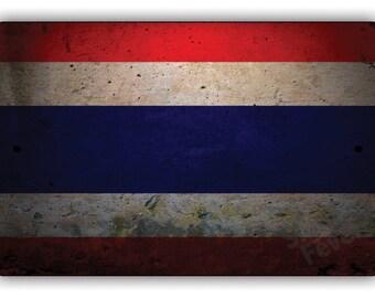 "Thailand Flag Aluminum Decor 8"" X 12"" Metal Sign"