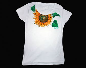 Sunflower tshirt, Sunflower shirt, Sunflower painting, Sunflower, Floral shirt, Floral t shirt,Flower shirt,Flower t shirt,Handpainted shirt